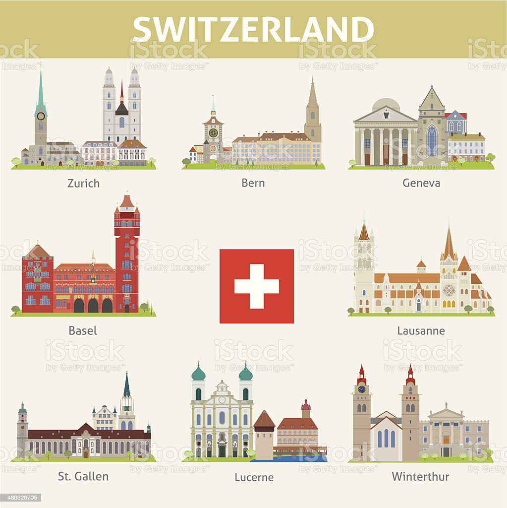 Switzerland Symbols Of Cities Vector Set Stock Vector Art More
