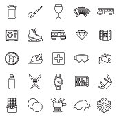 Switzerland Thin Line Outline Icon Set