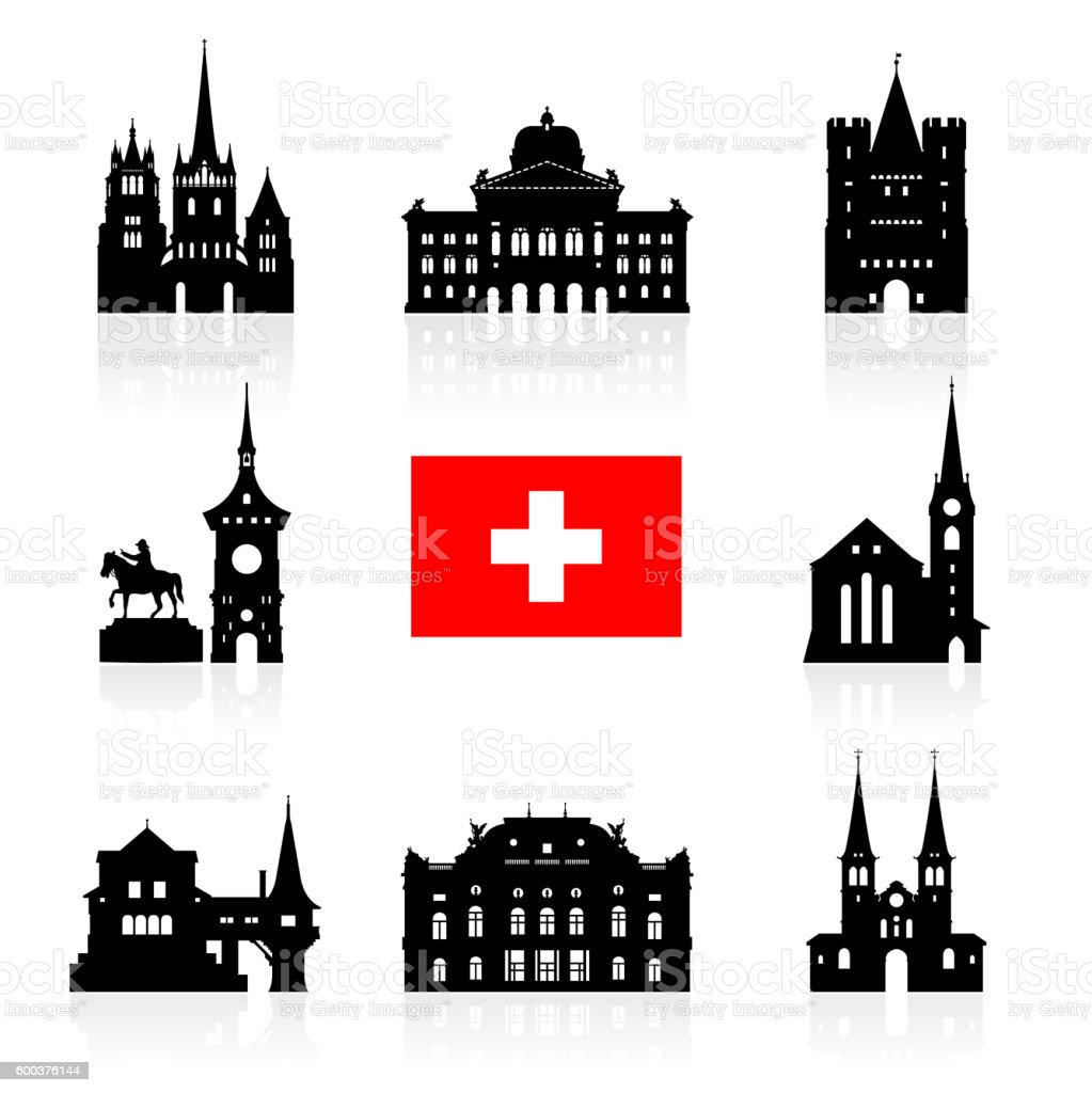 Switzerland Travel Landmarks. vector art illustration