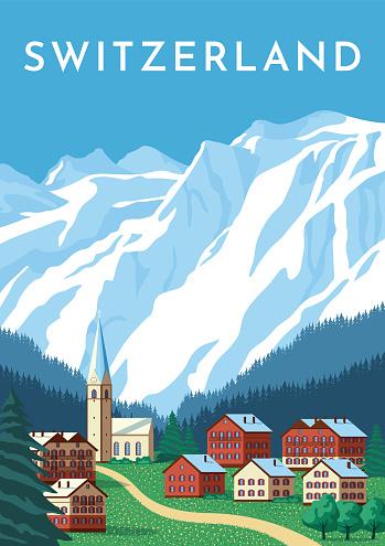Switzerland travel retro poster, nature vintage banner. Summer Alps landscape, mountain Austria village. Flat vector illustration.
