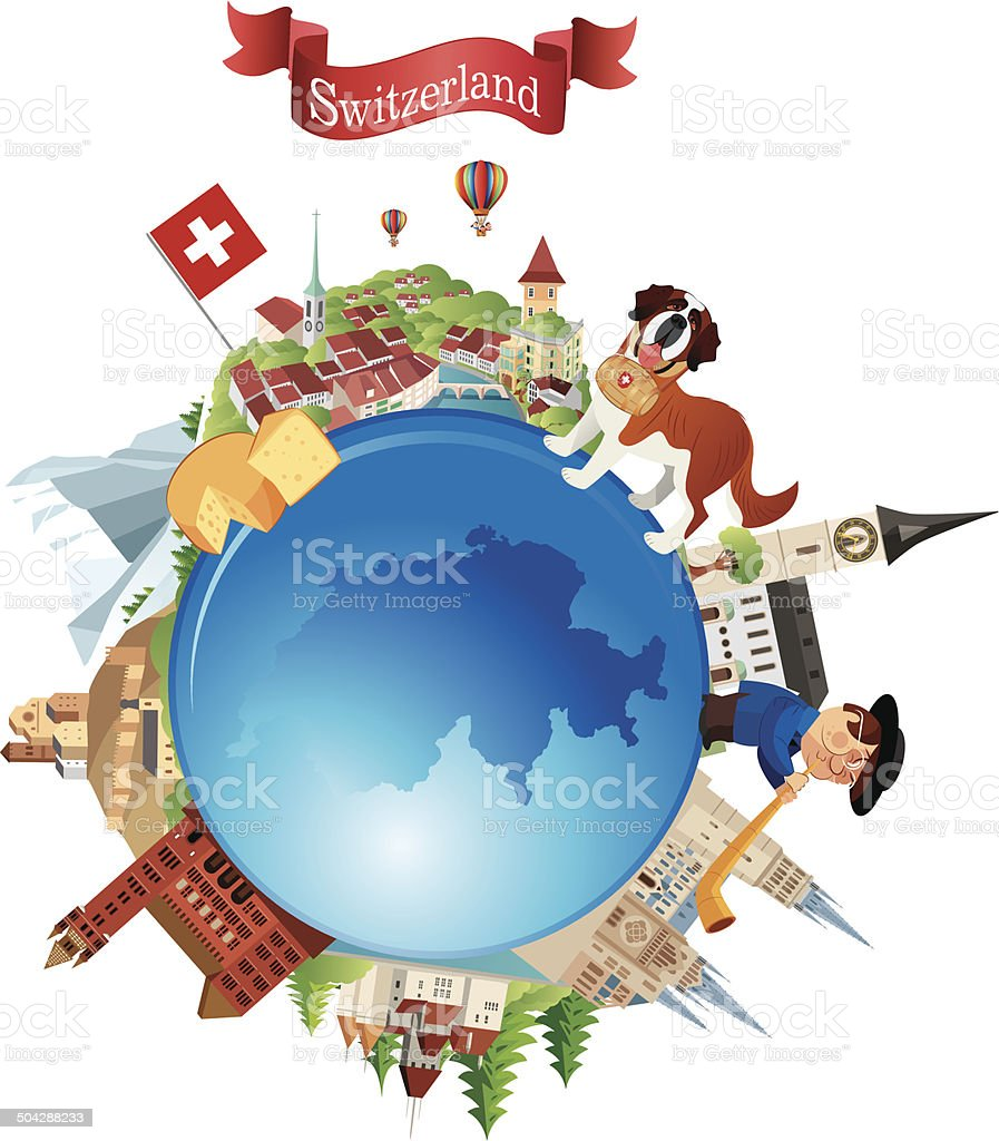 Switzerland Travel Symbols vector art illustration