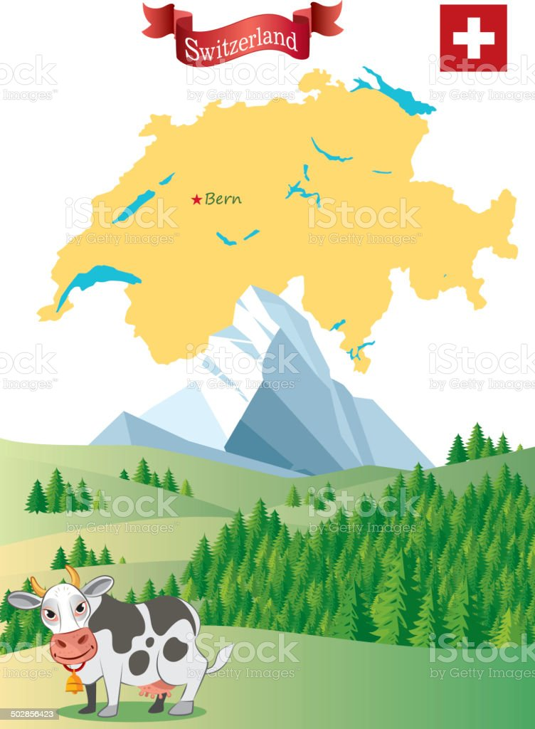 Switzerland vector art illustration