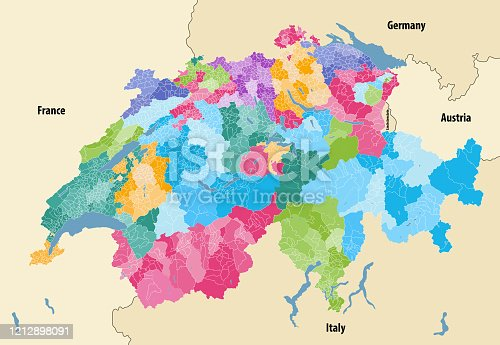 istock Switzerland vector map showing cantonal, districts and municipal boundaries, colored by cantons and inside each canton by distrcts. Map  with neighbouring countries and territories 1212898091
