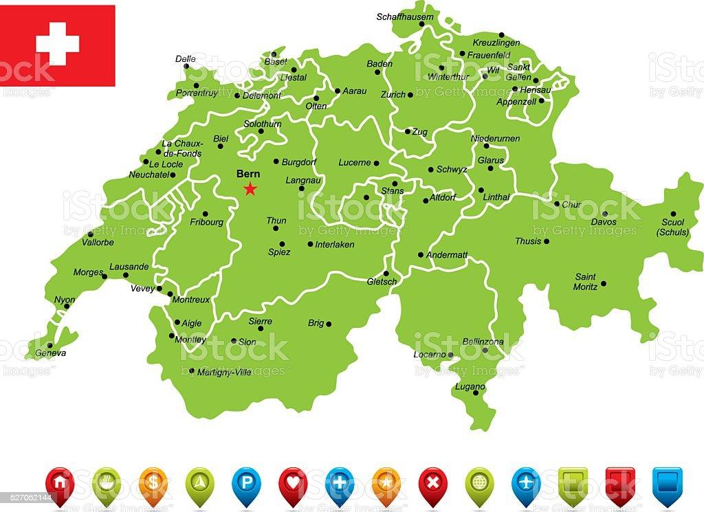 Switzerland Vector Map Stock Vector Art & More Images of Arrow ...