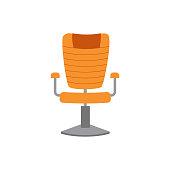 istock Swivel office comfortable leather armchair, flat vector illustration isolated. 1280945075