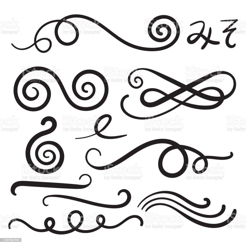 Swoosh Swish Swash boucles avec des dessins à main levée et Swooshes Squiggle, paraphes - frous - Illustration vectorielle