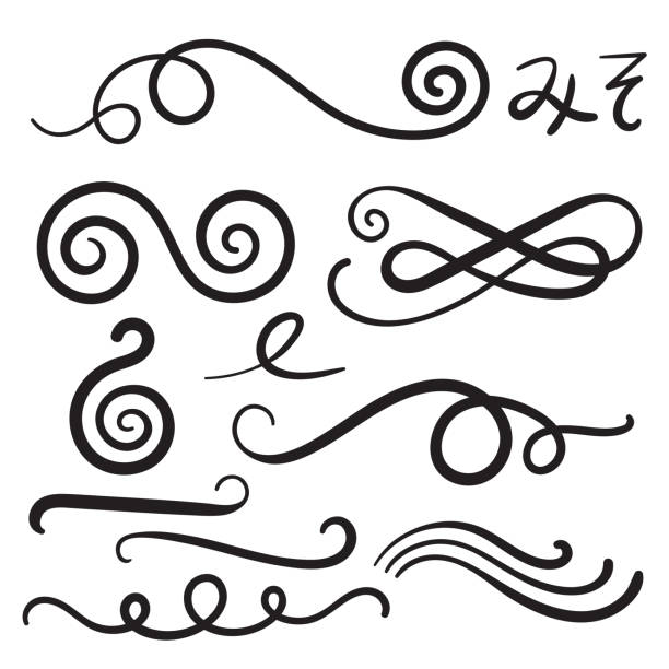 swoosh curls swash swish with scribbles and squiggle swooshes, swashes - swishes - kręcone włosy stock illustrations
