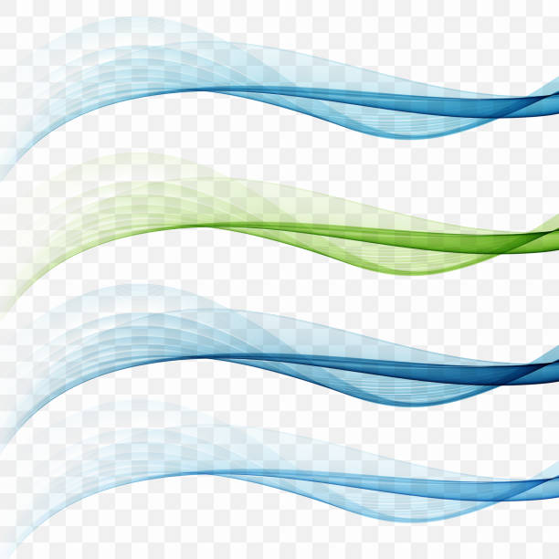 swoosh wave lines layout with abstract fresh dynamic streaks - blue drawings stock illustrations