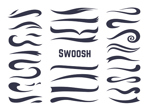 Swooshes and swashes. Underline swish tails for sport text logos, swirl calligraphic font line decoration element. Vector swash set