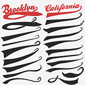 Swooshes set for Athletic Typography. Vector
