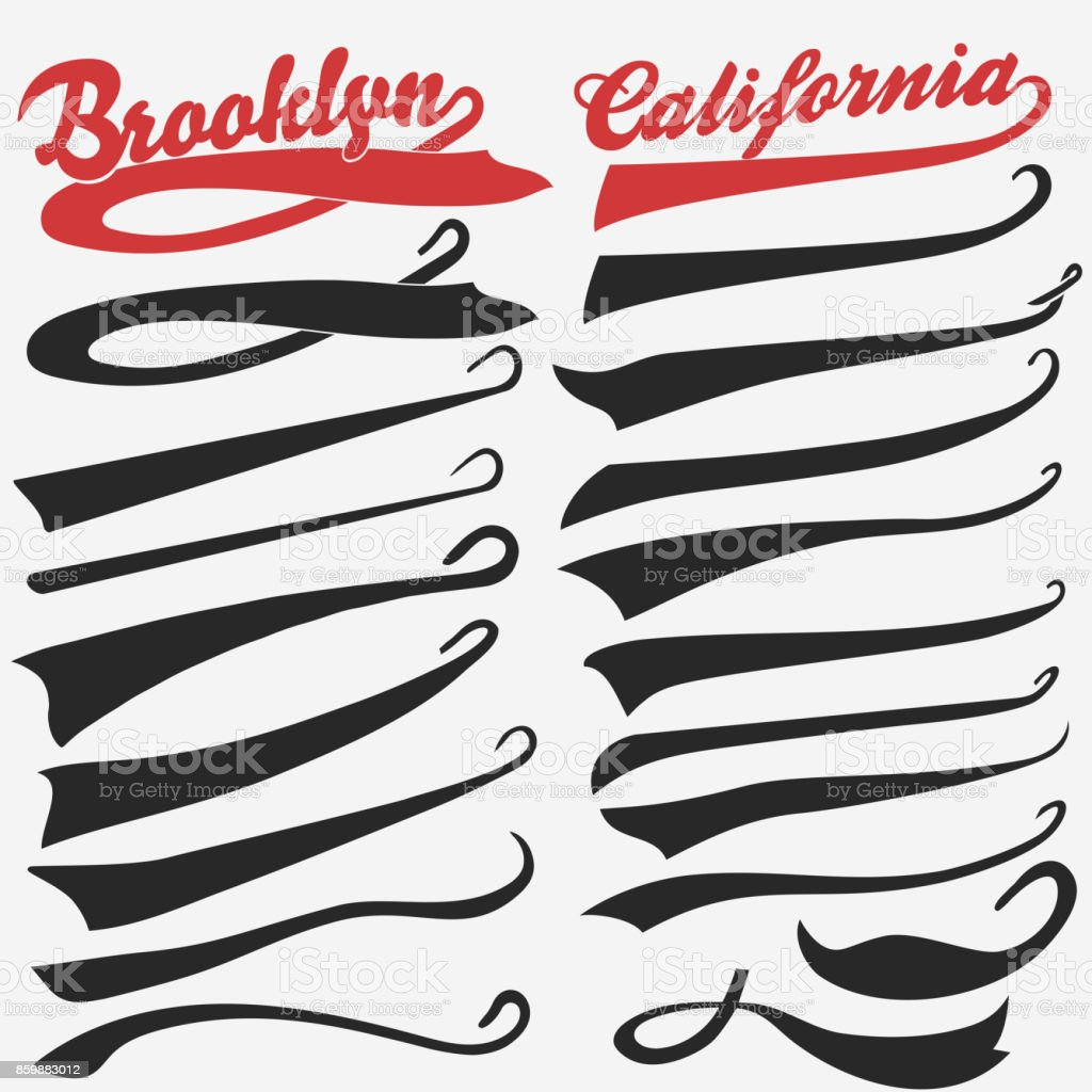 Swooshes set for Athletic Typography. Vector vector art illustration