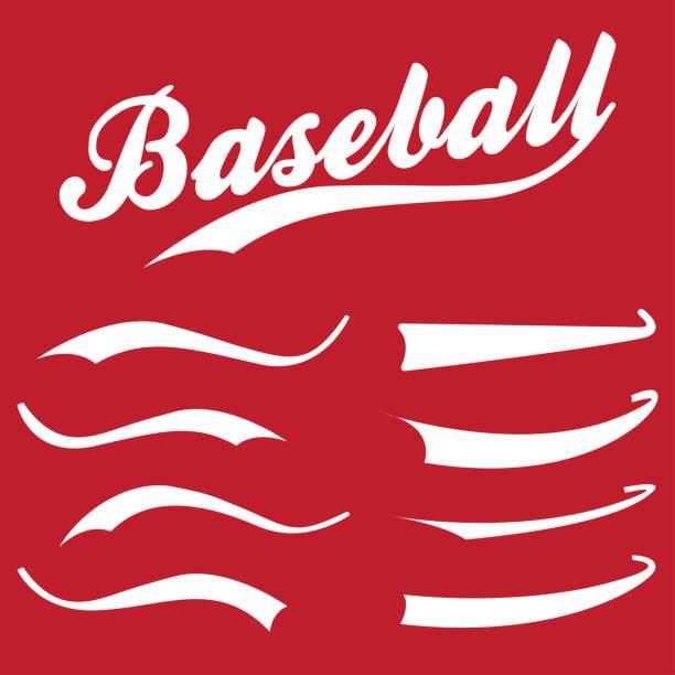 Swooshes, underline elements for sports design, typography for t-shirt. Baseball retro hand drawn swishes vector art illustration