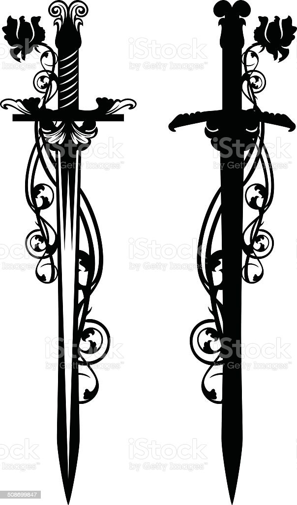 sword among roses stock vector art more images of antique rh istockphoto com sword vector logo sword vector illustrator