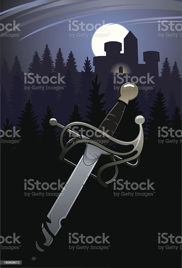 Sword and Forest Castle royalty-free stock vector art