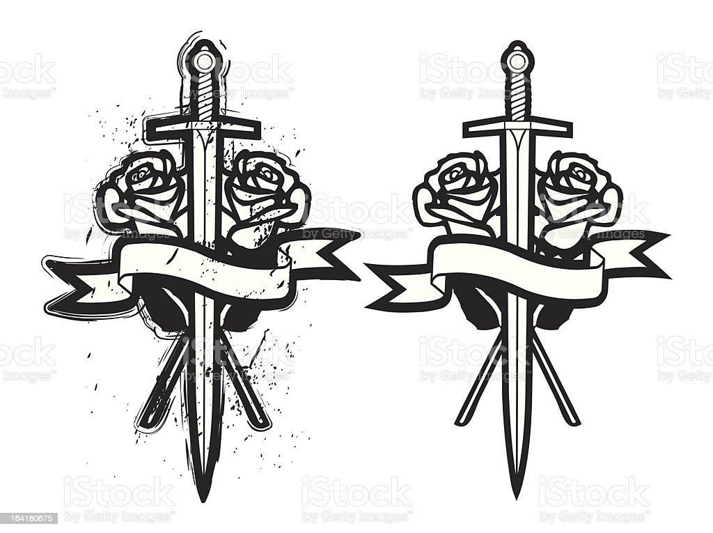 Sword And Rose royalty-free stock vector art