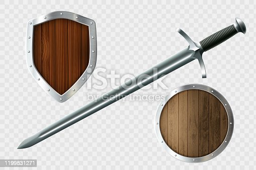 istock Sword and set of shields. Coat of arms. 1199831271