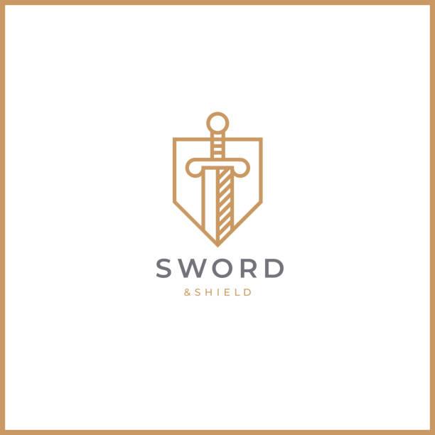 검과 방패 로고 디자인입니다. 선형 스타일 로고. 법률 회사, 법률, 변호, 변호사, 사법 및 보안을 위한 훌륭한 템플릿입니다. - sword stock illustrations