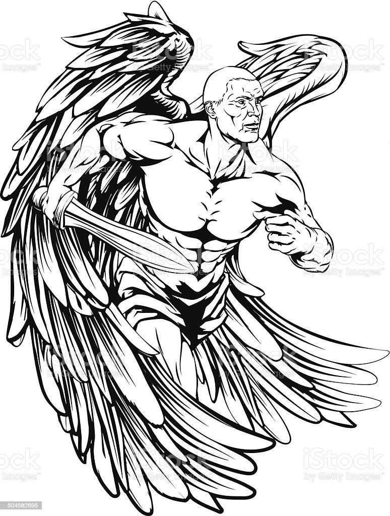 Espada ángel carácter - ilustración de arte vectorial