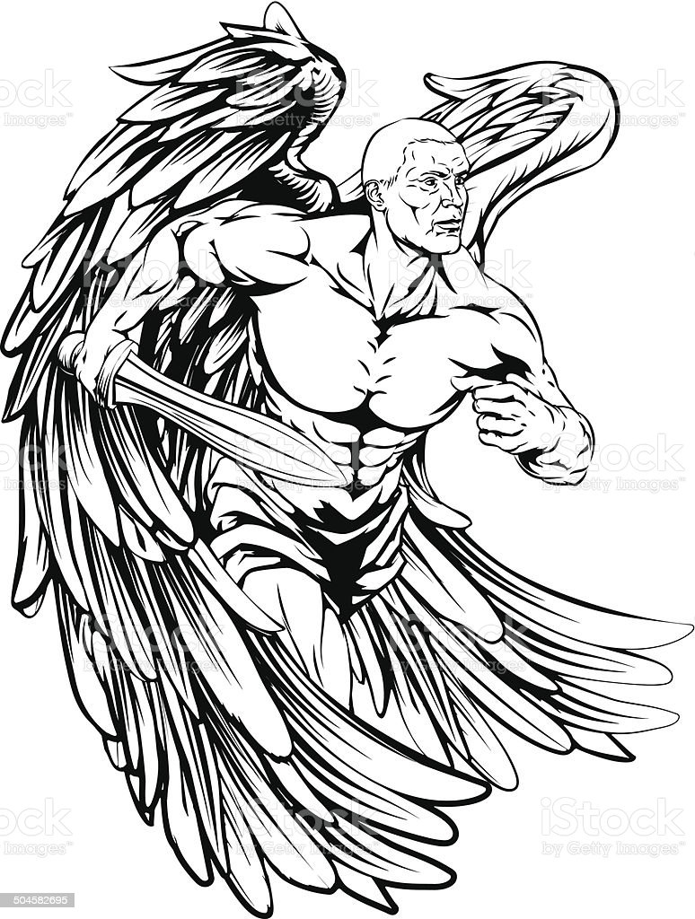 Sword angel character vector art illustration