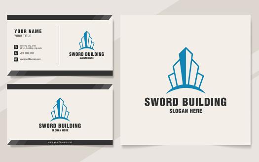 Sword building logo template on monogram style