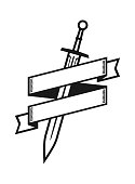 Sword badge with place for some text on stylized ribbon.