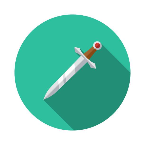 칼 플랫 디자인 판타지 아이콘 - sword stock illustrations