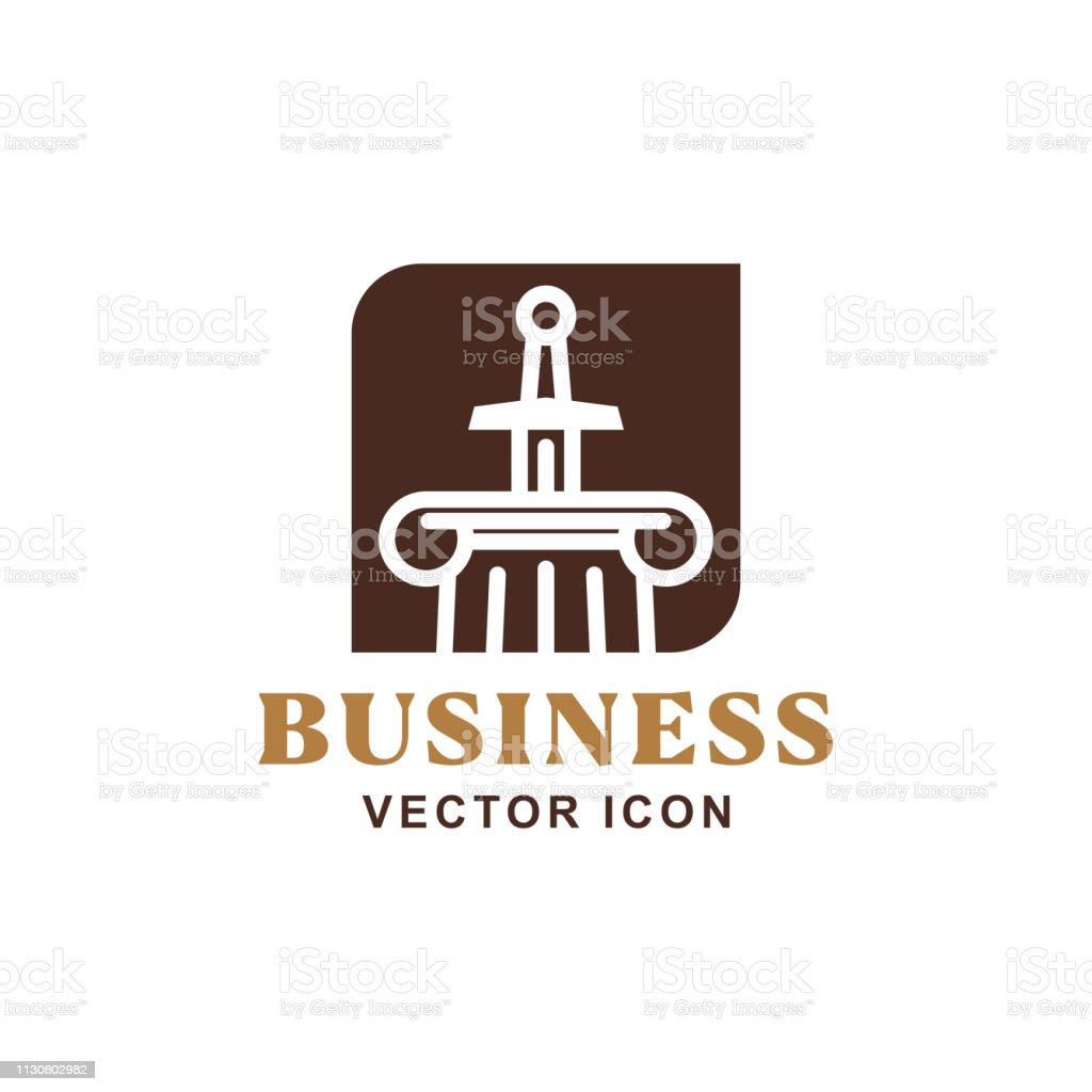 Sword hilt symbol - law and order icon vector art illustration