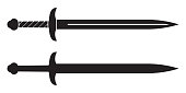 Sword icon. Medieval knight swords silhouette. Vector illustration.