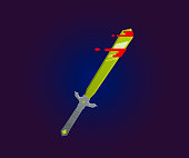 Sword icon vector illustration in flate style.