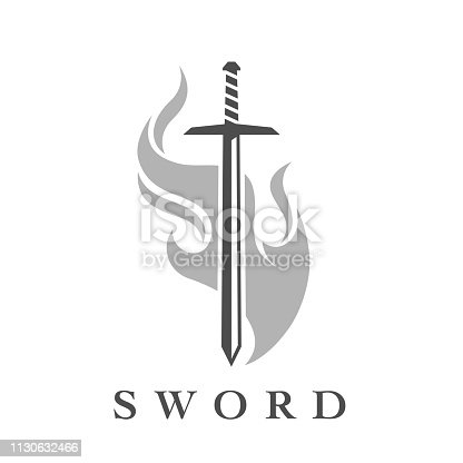 istock Sword icon with flame emblem template 1130632466