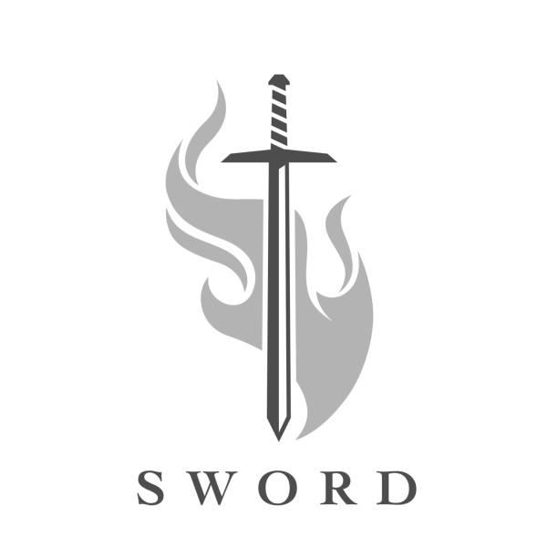 불꽃 엠 블 럼 템플릿 칼 아이콘 - sword stock illustrations