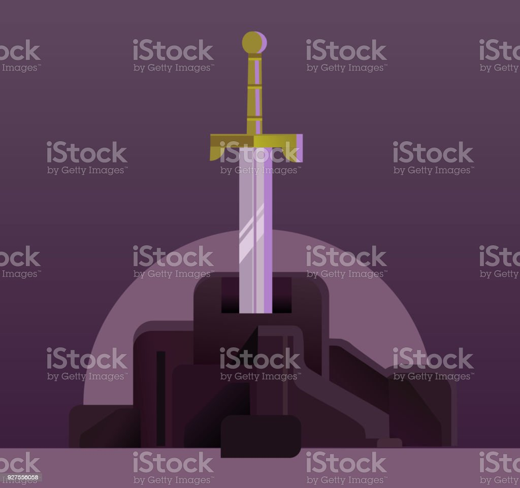 Sword in the stone vector art illustration