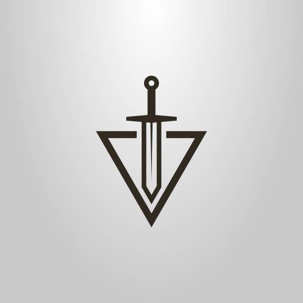 삼각형 모양으로 칼 로고 커팅입니다. 추상 아이콘 - sword stock illustrations