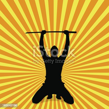 Vector Silhouette of a ninja holding up his sword in victory. .Eps version 08, .ai version 09 and an XXL size JPEG image included.