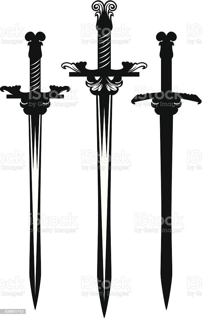 sword set vector art illustration