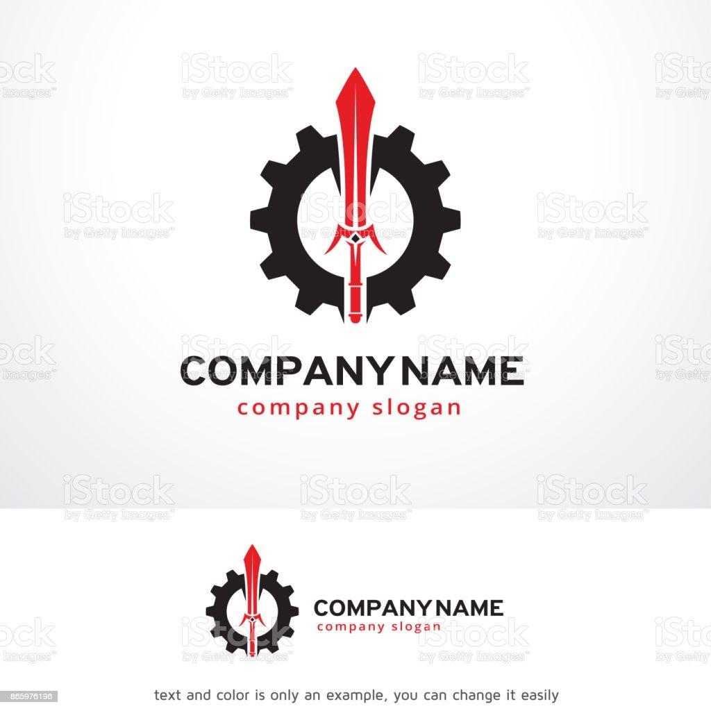 Sword Tech Symbol Template Design Vector, Emblem, Design Concept, Creative Symbol, Icon vector art illustration
