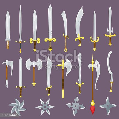 Sword vector medieval weapon of knight with sharp blade and pirates knife illustration broadsword set isolated on background.