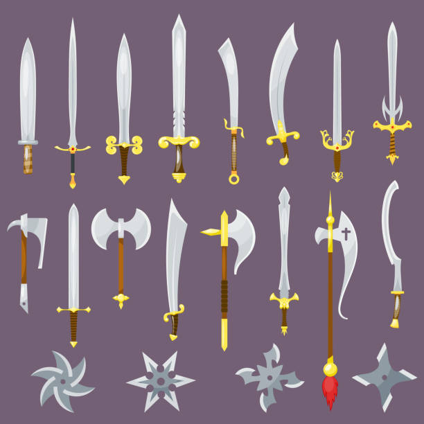 Sword vector medieval weapon of knight with sharp blade and pirates knife illustration broadsword set isolated on background Sword vector medieval weapon of knight with sharp blade and pirates knife illustration broadsword set isolated on background. blade stock illustrations