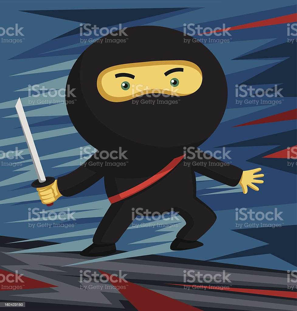 Sword Wielding Ninja ready for some action! royalty-free stock vector art