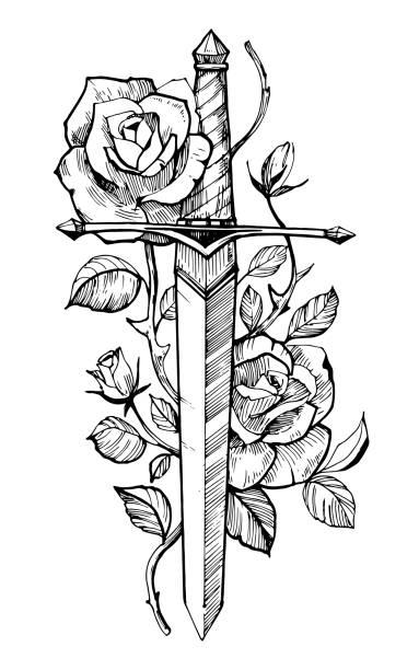 illustrations, cliparts, dessins animés et icônes de épée avec des roses. croquis de tatouage.  illustration dessinée à la main convertie en vecteur. isoler sur le fond blanc. - tatouages poignards