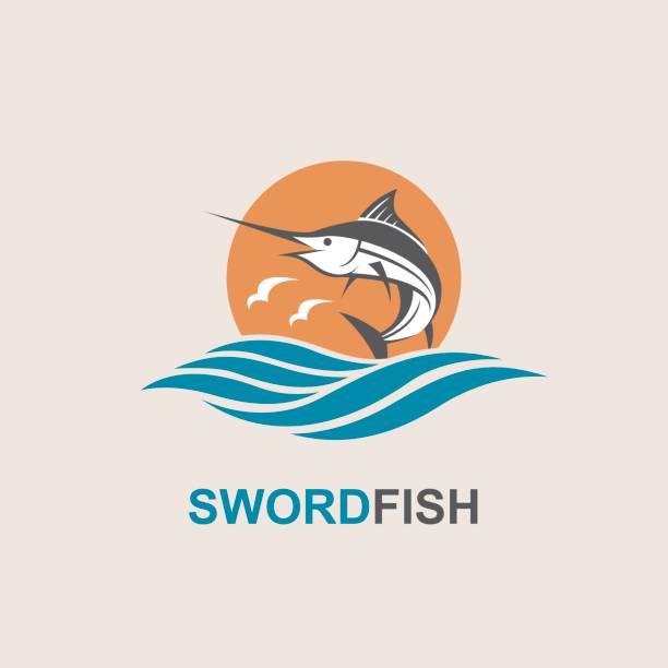 ilustrações de stock, clip art, desenhos animados e ícones de swordfish for fishing design - swim arms