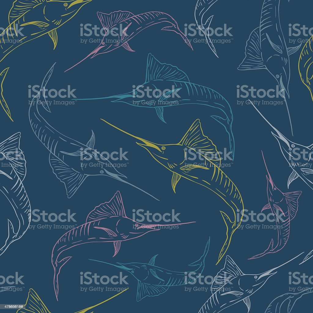 Swordfish seamless vector pattern vector art illustration
