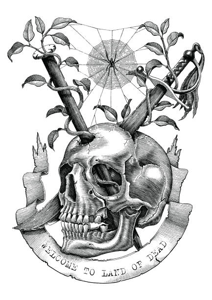 Swords and nails are inserted into the skull in the deserted land. Engraving illustration vintage style for tattoo art. Swords and nails are inserted into the skull in the deserted land. Engraving illustration vintage style for tattoo art. skulls tattoos stock illustrations