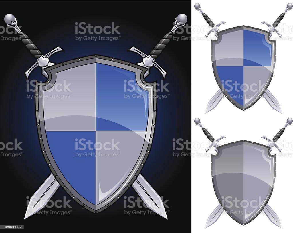 Swords and Shield vector art illustration