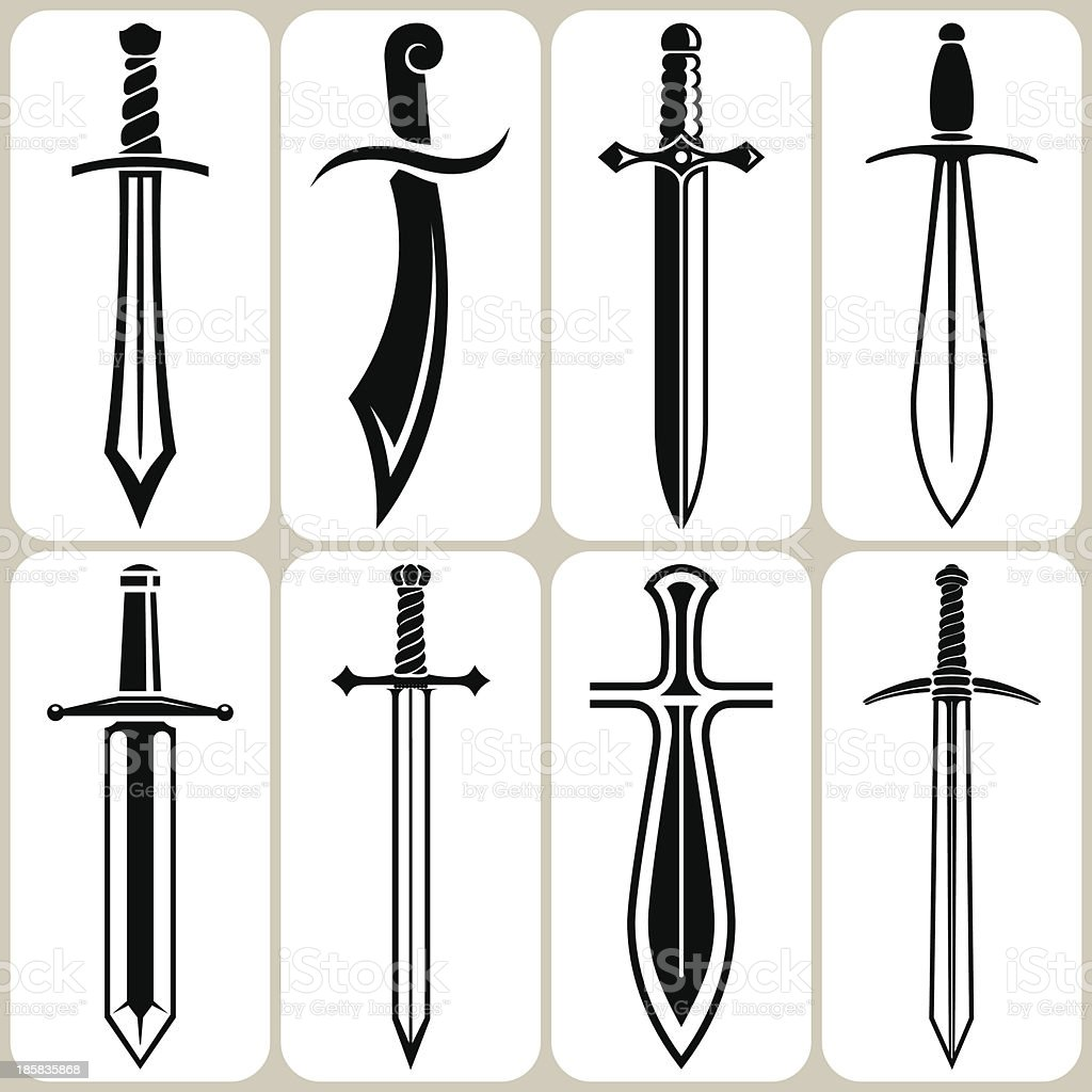 swords set vector art illustration