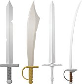 Vector illustration of a variety of swords.  Each sword is on its own layer, easily separated from the others in a program like Illustrator, etc.  Illustration uses linear and radial gradients.  Both .ai and AI8-compatible .eps formats are included, along with a high-res .jpg, and a high-res .png with transparent background.