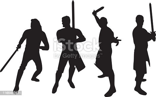 Vector silhouettes of four swordsmen.