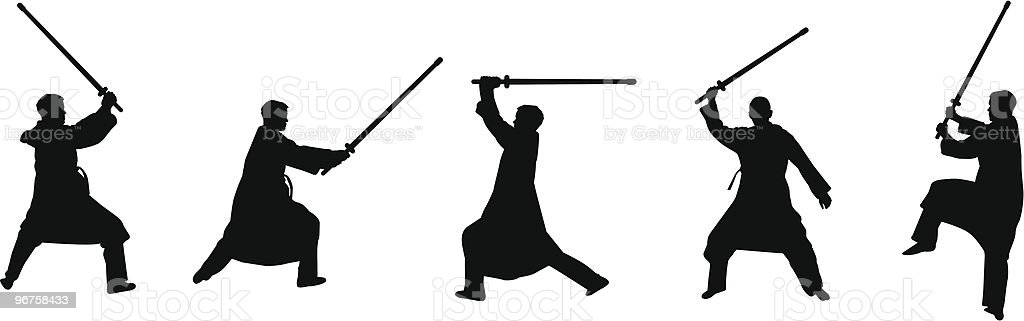 swordsmen silhouettes royalty-free stock vector art