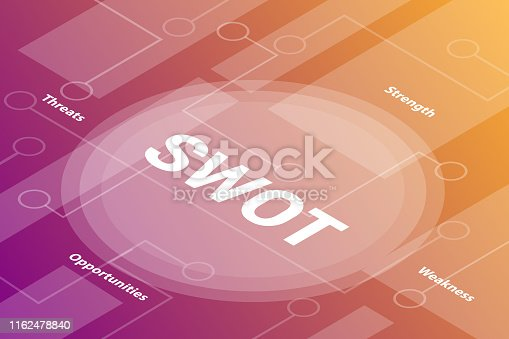 swot words isometric 3d word text concept with some related text and dot connected - vector illustration