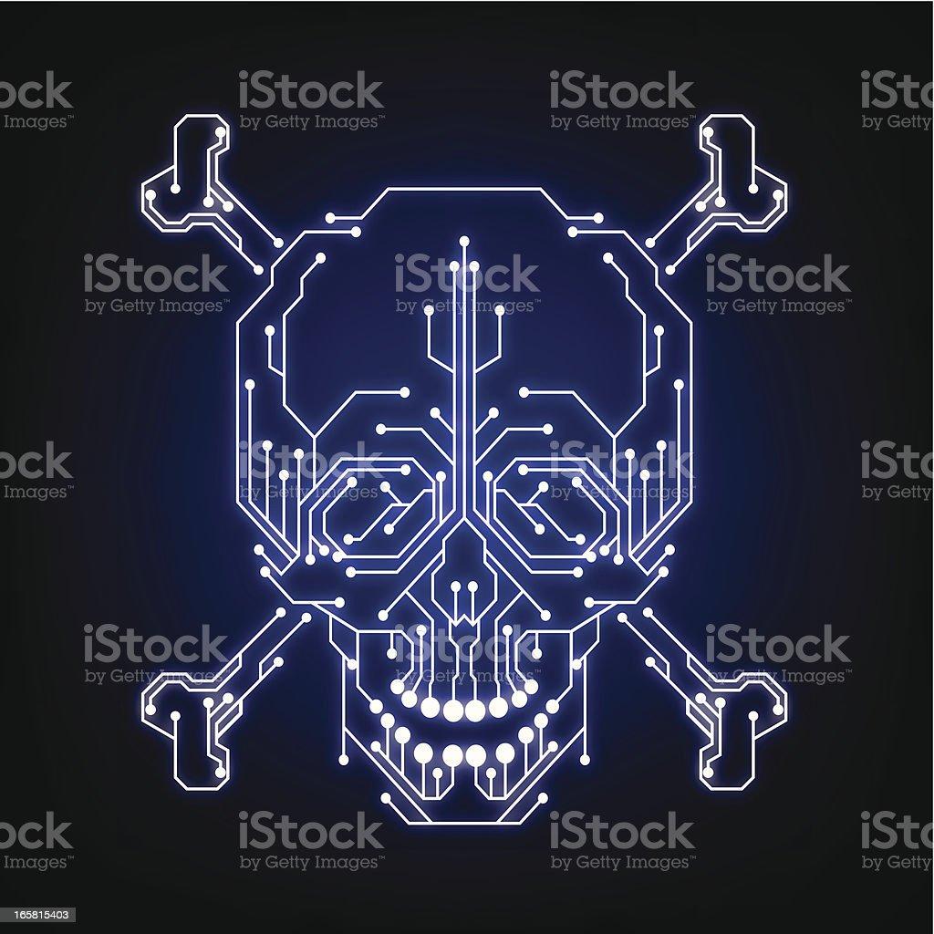 Syber piracy symbol (hacker, cracker) vector art illustration